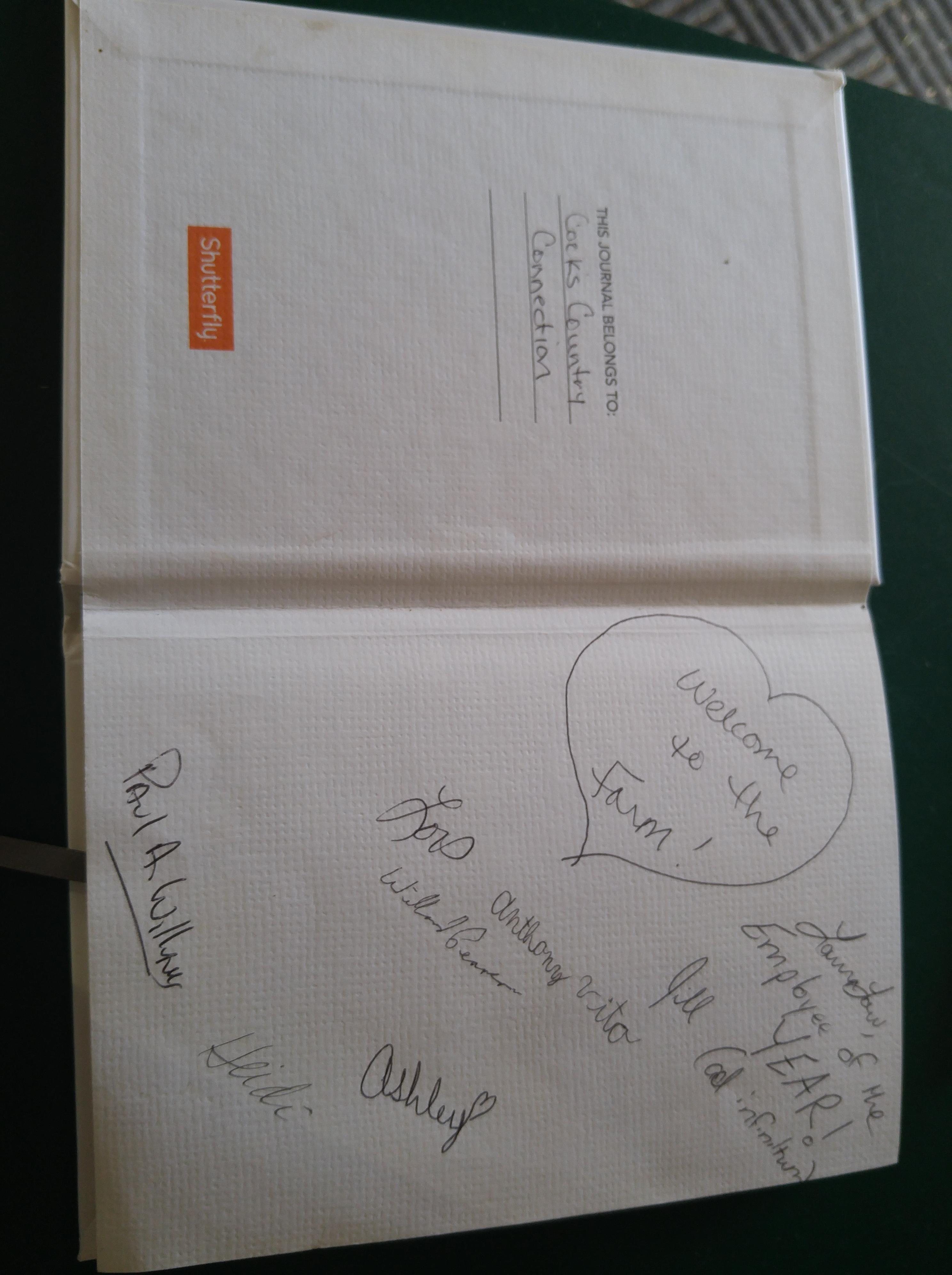 Guest book inside 1